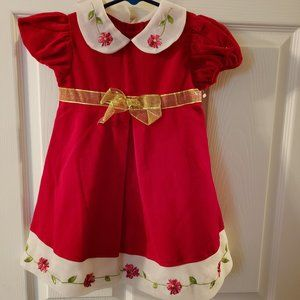NWT Girls Red Dress With Flower Detail (Sz. 2T)